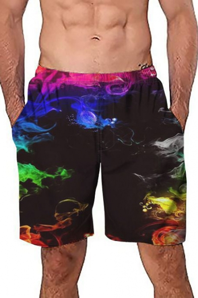 Unique Fashion Colorful Smog Print Mens Black Loose Casual Beach Swim Trunks