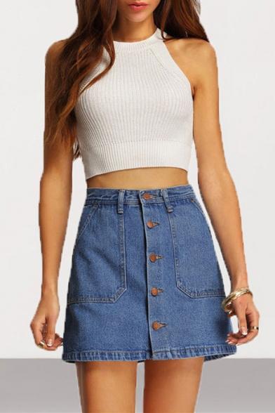 Women's Classic Button Front Dark Blue Mini A-Line Denim Skirt