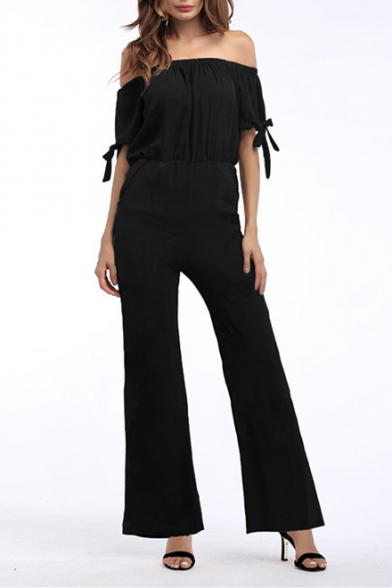 Women's Fashion Plain Off Shoulder Tie Detail High Waist Wide Leg Jumpsuits