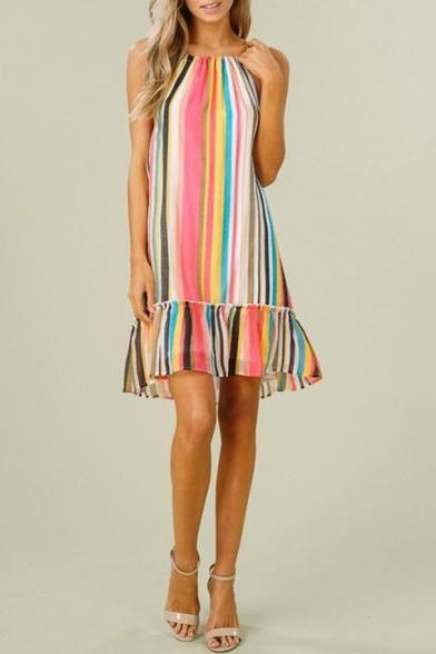 Women's Hot Sale Sleeveless Round Neck Colorful Stripes Printed Peplum Hem Mini Slip Dress