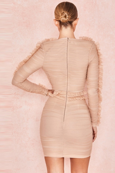 Women's New Stylish Plunge Neck Long Sleeve Lace Trim Pleated Detail Plain Mini Bodycon Apricot Dress