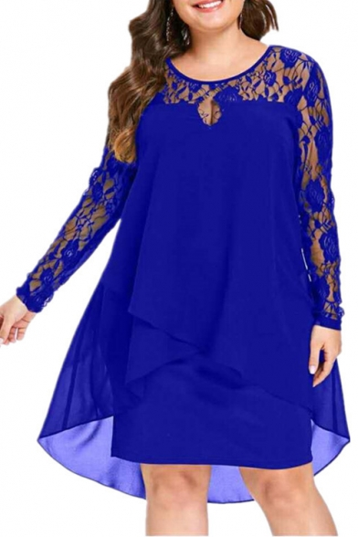 Women's New Trendy Mesh Lace insert Long Sleeve Plain Printed Mini Asymmetric Dress