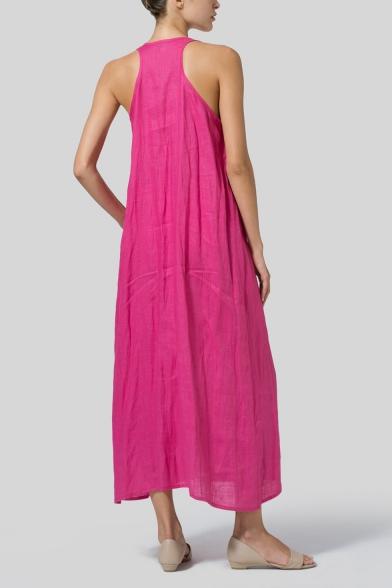 Women's New Trendy Round Neck Sleeveless Plain Casual Loose Maxi Tank Dress