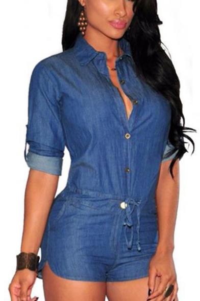 Women's New Trendy Solid Color Button Front Tied Waist Slim Denim Blue Romper