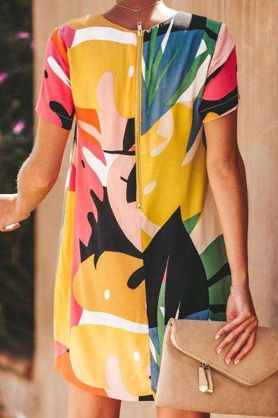 Women's Summer Fancy Printed Round Neck Short Sleeve Zip Back Front Mini Dress
