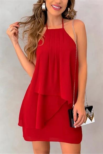 Women's Summer Sexy Halter Sleeveless Plain Print Backless Mini Asymmetric Hem Cami Dress