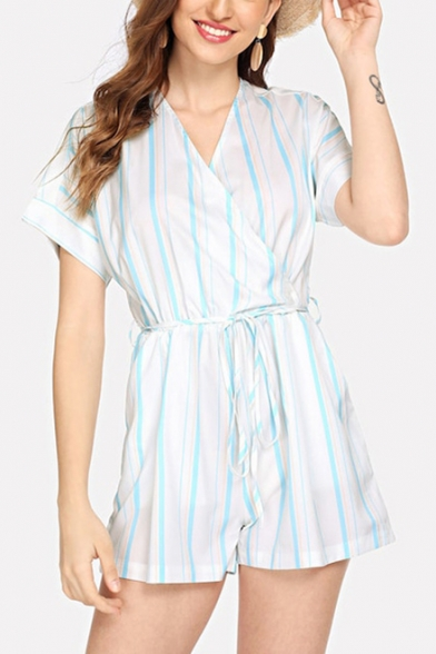 Women's Trendy Blue and White Striped Printed Short Sleeve V-Neck Tied Romper Playsuit