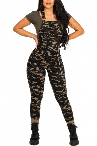 Women's Trendy Camouflage Print Sleeveless Pockets Details Slim Fit Overall Jumpsuits