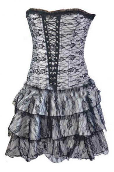 Womens Gothic Steampunk Vintage Ruffled Hem Lace-Up Corset Three-Piece Mini A-Line Bandeau Dress