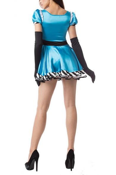 Womens Halloween Blue Alice Princess Cosplay Costume Puff Sleeve Flared Mini Dress