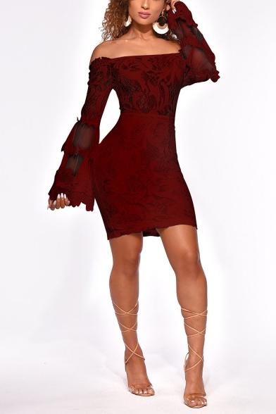 Womens Hot Fashion Sexy Off the Shoulder Long Sleeve Mini Bodycon Lace Dress Night Club Dress