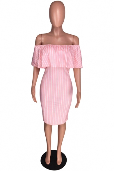 Womens Pink Off the Shoulder Ruffle Sleeve Stripe Midi Bodycon Dress