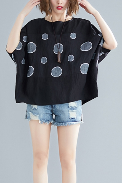 Womens Plus Size Summer Fashion Polka Dot Printed Oversized Linen T-Shirt