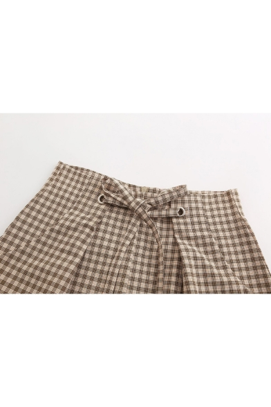 British Style Classic Plaid Printed Tied Waist Womens Yellow Straight Shorts