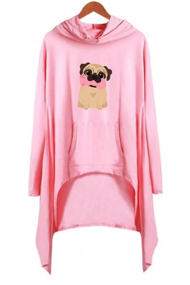 Cartoon Cute Pug Dog Printed Long Sleeve Hooded Shift Asymmetrical Dress