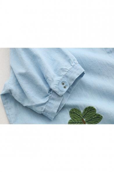 Cartoon House Embroidery Short Sleeve Light Blue Button Down Longline Shirt