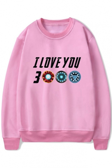 Cool Letter I Love You 3000 Print Basic Round Neck Pullover Relaxed Unisex Sweatshirt