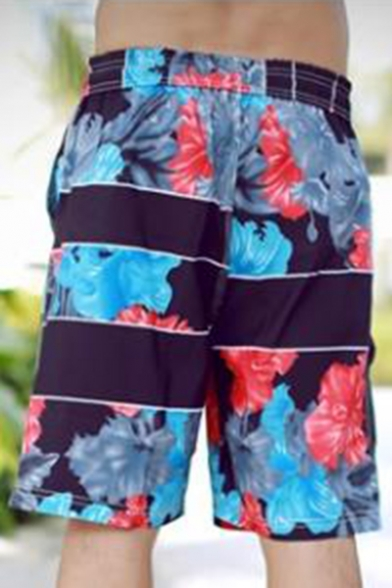 Fashion Floral Letter STYLE Print Men's Drawstring Waist Beach Black Swim Trunks