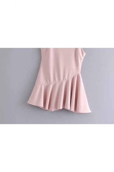 Girls Summer Simple Solid Color Ruffled Hem Mini Pink A-Line Slip Dress