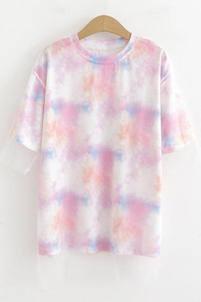 Girls Summer Trendy Tie Dye Short Sleeve Round Neck T-Shirt