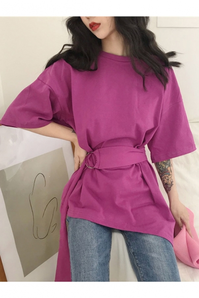 Girls Summer Unique Fashion Round Neck Belted Waist Solid Color Asymmetrical Longline T-Shirt