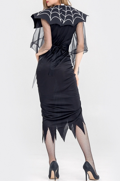 Halloween Spider Queen Cosplay Costume Black Ruched Midi Party Dress