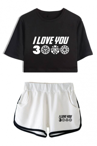 Hot Fashion Letter I Love You 3000 Cropped T-Shirt Relaxed Shorts Summer Two-Piece Set, Black;pink;white;gray, LC521913