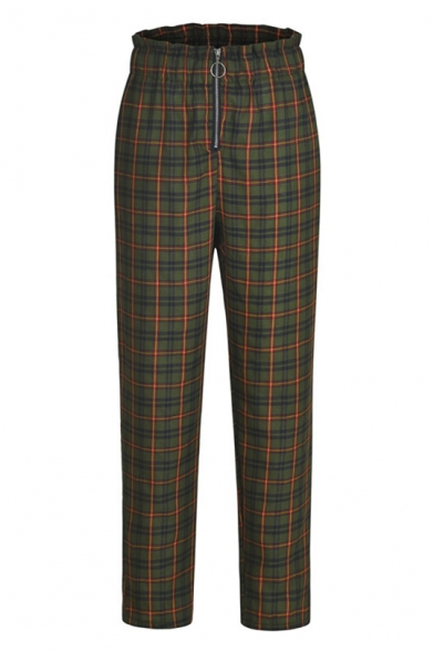 Hot Fashion Plaid Check Printed Exposed Zip Fly Capri Carrot Pants Trousers for Women