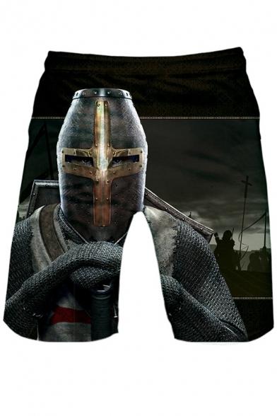 Knights Templar Cool Figure Printed Drawstring Waist Black Loose Fit Sport Shorts