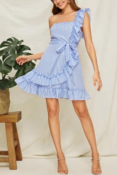 Ladies Hot Fashion Stripes Printed One Shoulder Sleeveless Bow-Tied Waist Ruffle Side Mini A-line Blue Dress