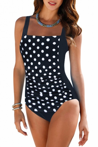 New Fashion Polka Dot Printed Square Neck Black One Piece Swimsuit Swimwear for Women