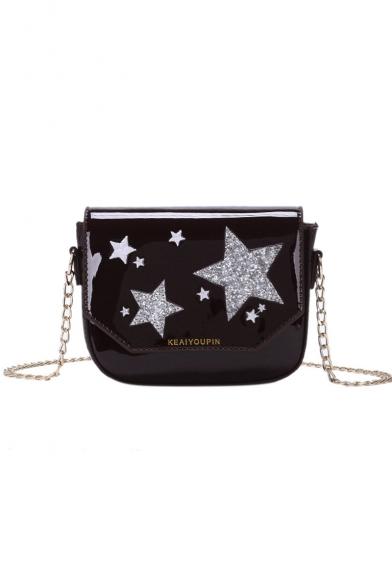New Fashion Star Printed Patent Leather Long Strap Crossbody Bag 18*5*14 CM