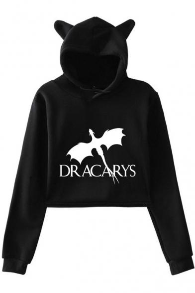 New Trendy Dragon Dracarys Long Sleeve Cute Cat Ear Pullover Cropped Hoodie