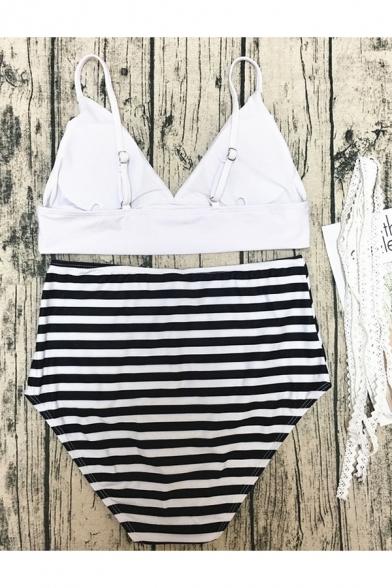 Plain Crisscross Sleeveless Top with Striped High Waist Bottom Bikini