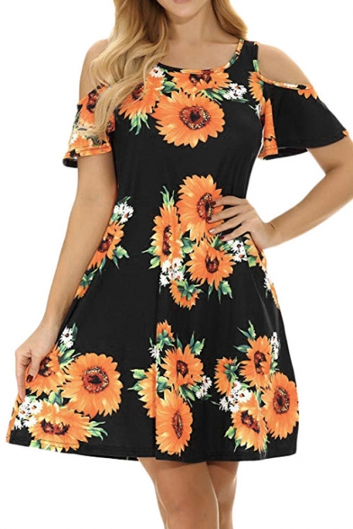 Summer Allover Sunflower Printed Cold Shoulder Short Sleeve Mini A-Line Dress