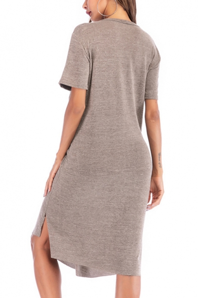 Summer Basic Simple Plain Round Neck Short Sleeve Twist Front Midi Casual Loose Khaki T-Shirt Dress