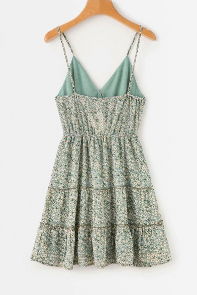Summer Green Floral Printed V-Neck Drawstring Waist Mini A-Line Slip Dress for Girls