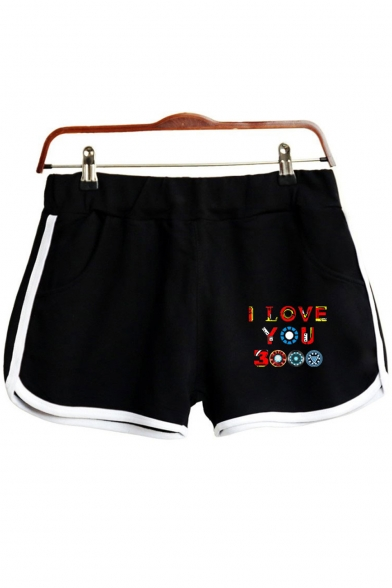 Unique Colorful Letter I LOVE YOU 3000 Elastic Waist Loose Fit Dolphin Shorts for Women