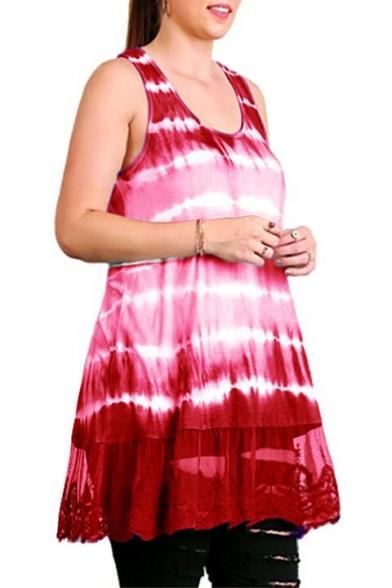 Women'a Summer Tie-dye Printed Sleeveless Scoop Neck Lace Insert Mini Tank Dress