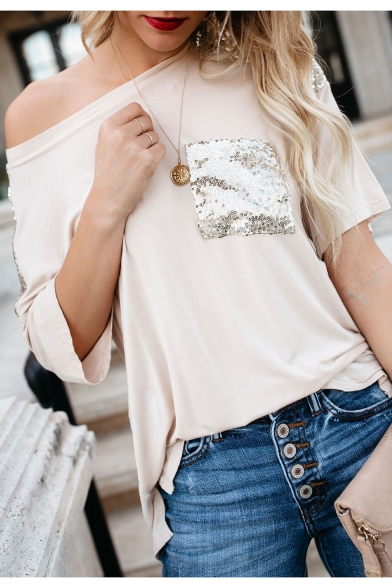 Women New Style Sequin-Embellished Patch Casual One Shoulder Short Sleeve T Shirt