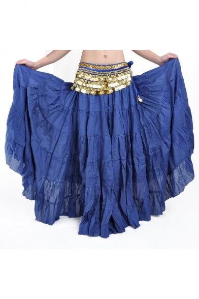 Women's Boho Gypsy Long Skirt Spain Flamenco Belly Dance Linen Pleated Maxi Skirt