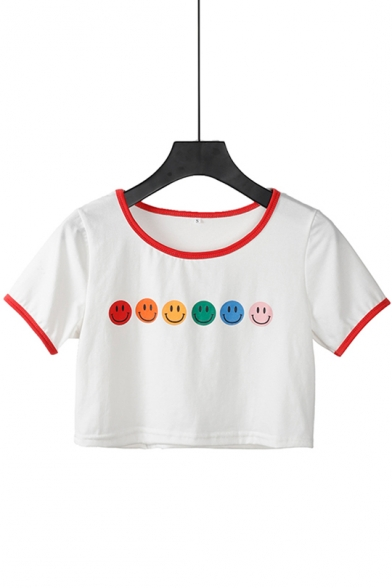 Women's Cute Smile Face Printed Color Block Round Neck Short Sleeve Cropped Cotton White Tee