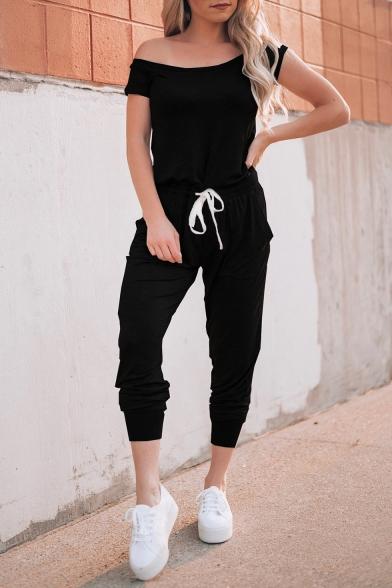 Women's Fashion Simple Plain One Shoulder Short Sleeve Drawstring Jumpsuit