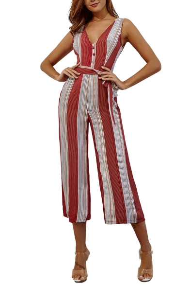 Women's New Fashion Red Stripes Buttons Details Sleeveless Bow-Tied Waist Wide Leg Jumpsuit