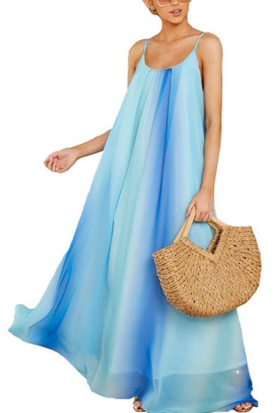 Women's Sexy Light Blue Ombre Color Scoop Neck Sleeveless Maxi Chiffon Slip Beach Dress
