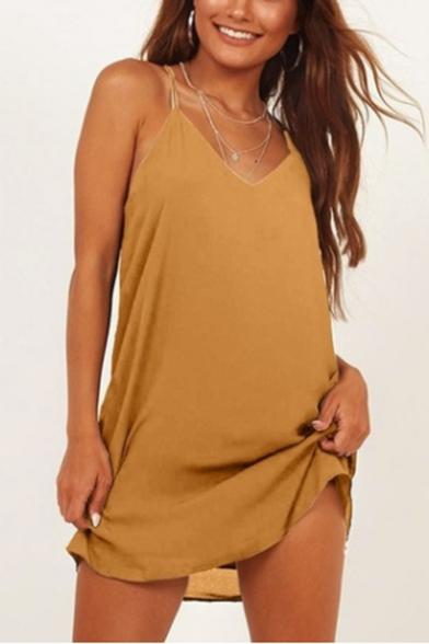 Women's Summer Hot Sale Plain Printed V-Neck Sleeveless Mini Cami Dress