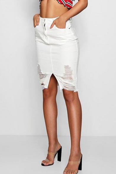 Womens High Rise Distressed Ripped Knee Length Slit Front White Bodycon Denim Skirt