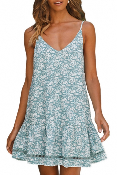 Womens Summer New Trendy Floral Printed V-Neck Sleeveless Mini Beach Cami Dress