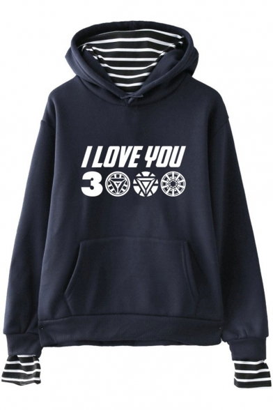 Awesome Letter I Love You 3000 Fake Two-Piece Long Sleeve Unisex Hoodie