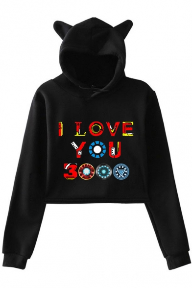Cool Colorful Letter I Love You 3000 Long Sleeve Cute Cat Ear Design Cropped Hoodie, Black;dark navy;pink;white;gray, LM521685